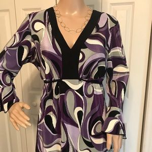 NEW DIRECTION PURPLE AND BLACK BLOUSE W/TIES